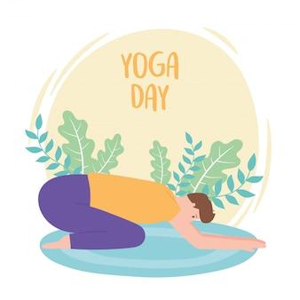 Man beoefenen van yoga balasana vormen oefeningen, gezonde levensstijl, fysieke en spirituele praktijk illustratie