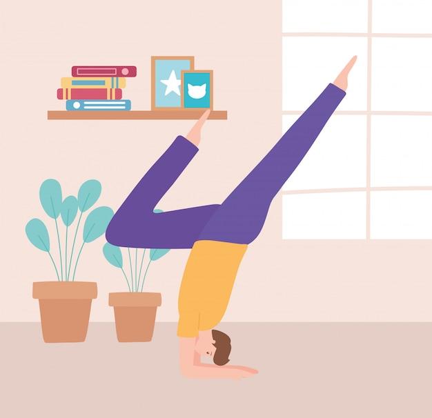 Man beoefenen van yoga pose oefeningen, gezonde levensstijl, fysieke en spirituele praktijk illustratie