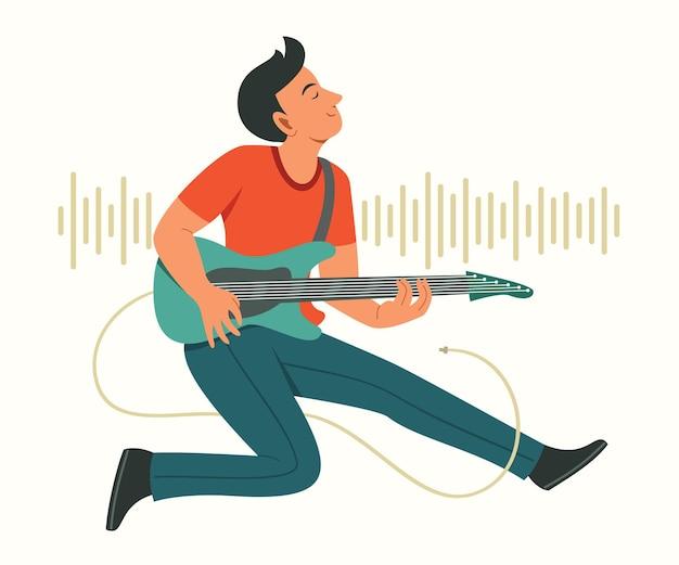 Man bespeel de elektrische gitaar en spring omhoog