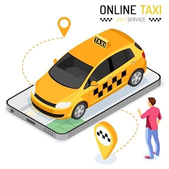 Man bestelt taxi vanaf smartphone. online taxi 24-uurs serviceconcept met mensen, auto, kaart en routepin. isometrische pictogrammen. geïsoleerde vectorillustratie