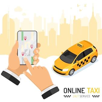 Man bestelt taxi vanaf smartphone. online taxi 24-uurs serviceconcept met mensenhand, auto, kaart en routespeld. isometrische pictogrammen. vector illustratie