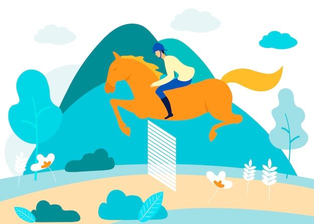 Man betrokken bij paardensport in bos. vector