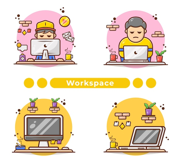 Man bezig met computer illustratie in de hand getekend