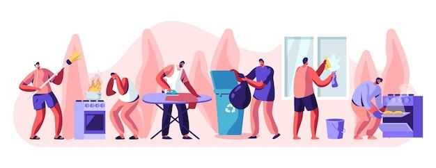 Man bij huishoudelijke activiteiten ingesteld. cartoon vlakke afbeelding