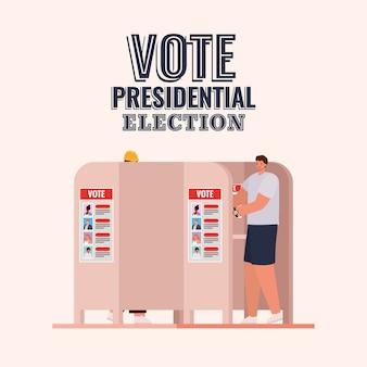 Man bij stemhokje met tekstontwerp stem presidentsverkiezingen, thema verkiezingen dag.