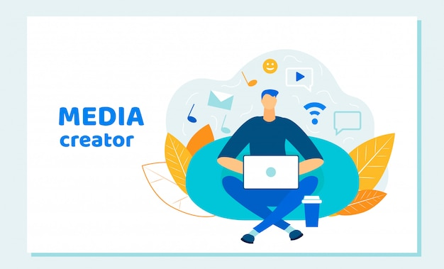 Man blogger, social media creator werkende laptop