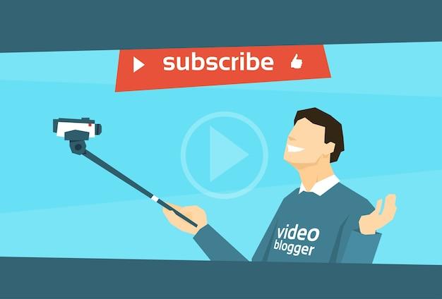 Man blogger vasthouden camera tripod video blog