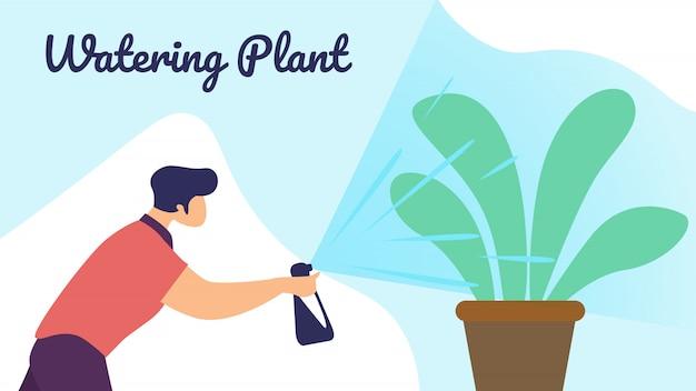 Man botanist watering home plant van spuitbus