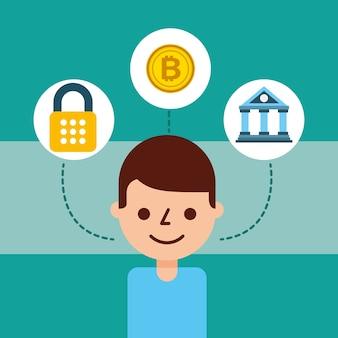 Man cartoon avatar bank bitcoin cyberbeveiliging