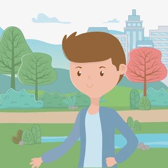 Man cartoon in het park