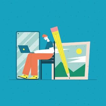 Man cartoon met laptop op bureau smartphone potlood en foto