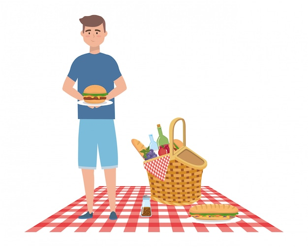 Man cartoon met picknick