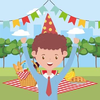 Man cartoon met picknick