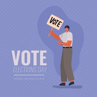 Man cartoon met stem aanplakbiljet op paarse achtergrondontwerp, stemming verkiezingen dag