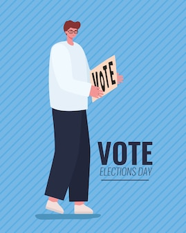Man cartoon met stem banner op blauwe achtergrondontwerp, stemming verkiezingen dag en regeringsthema.