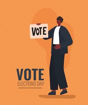 Man cartoon met stem banner op oranje achtergrondontwerp, stemming verkiezingen dag en overheidsthema.