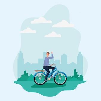 Man cartoon rijden fiets in het park voor de stad