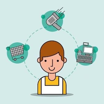 Man cartoon verkoper supermarkt werknemer winkelwagentje scanner en kassa