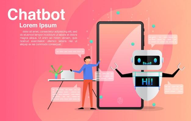 Man chatten met chatbot-applicatie.