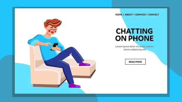 Man chatten op telefoon messenger application vector. jonge jongen zittend op een stoel en chatten op de telefoon. karakterberichten op smartphone, digitale communicatie web flat cartoon afbeelding