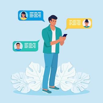 Man chatten via mobiele telefoon