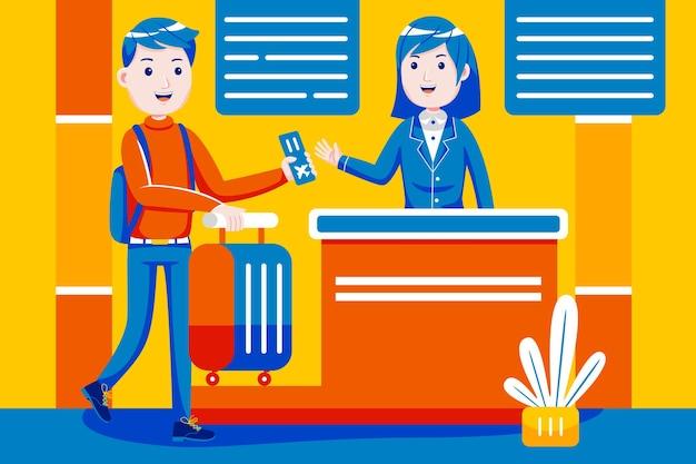 Man check-in balie tegen poort op internationale luchthaven.