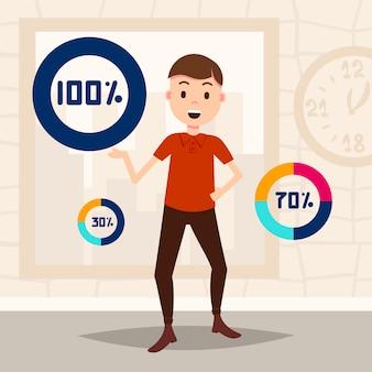 Man cirkel percentage diagram karakter klaar om te gebruiken load indicator sjabloon voor ontwerpwerk en animatie plat