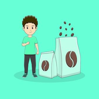 Man clanch hand met pakket koffie ontwerp