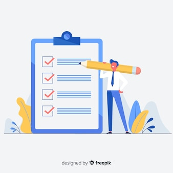 Man controleren gigantische checklist