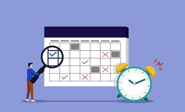 Man controleren werkschema met vergrootglas. tijdbeheer en taakherinneringsconcept