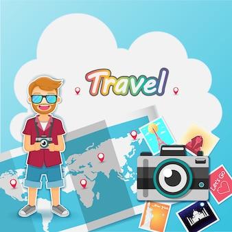 Man cute cartoon reiziger op blauwe achtergrond