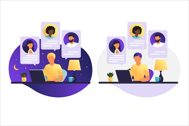 Man dag en nacht aan het werk op een computer. mensen op computerscherm spreken met collega of vrienden. illustraties concept videoconferentie, online vergadering of werk vanuit huis.