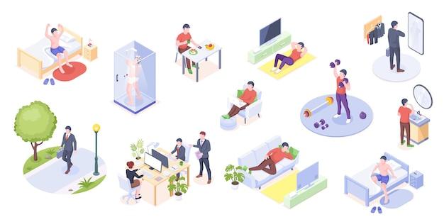 Man dagelijks leven activiteit thuis en op kantoor isometrisch