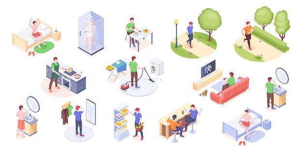 Man dagelijks leven thuis routine en dagelijks leven isometrische pictogrammen man dagelijkse werkdag en vrije tijd