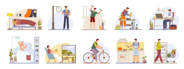 Man dagelijkse routine pictogrammen instellen dag werk en rust leven schema geïsoleerde illustratie