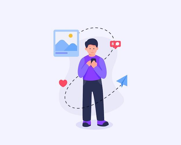 Man deelt inhoud in sociale media met enkele gerelateerde pictogrammen met vlakke stijl