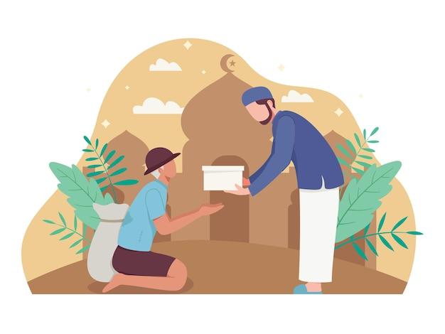 Man die aalmoezen of zakat geeft in de heilige maand ramadan. moslim die een donatie schenkt aan een arme dakloze man