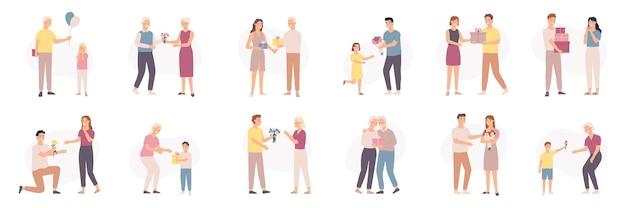 Man die bloemen geeft. mannen van verschillende leeftijden geven boeket en cadeau aan vrouwen en kinderen, bloemencadeau verjaardag of valentijnsdag, vectorset. illustratieboeket romantisch voor vriendin, relatiepaar