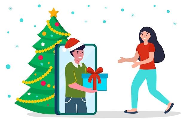 Man die een geschenkdoos geeft aan een meisje vector illustratie concept van nieuwjaar vakantie geschenken