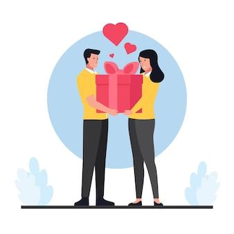 Man die een geschenkdoos geeft aan vrouw op valentijnsdag.