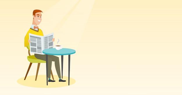 Man die een krant leest en koffie drinkt.