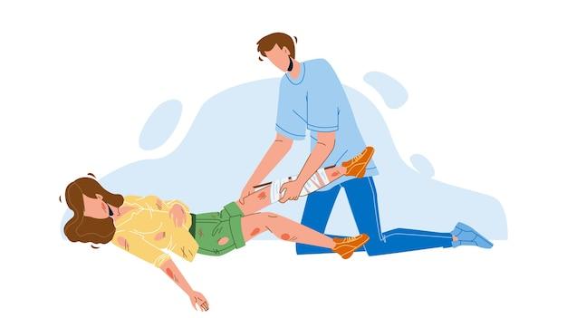 Man die eerste hulp verleent gewonde jong meisje