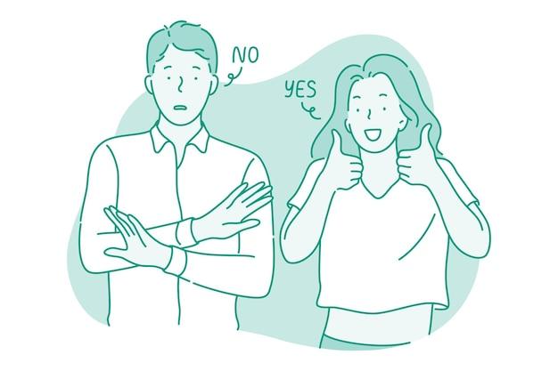 Man die geen protestbord met handen toont