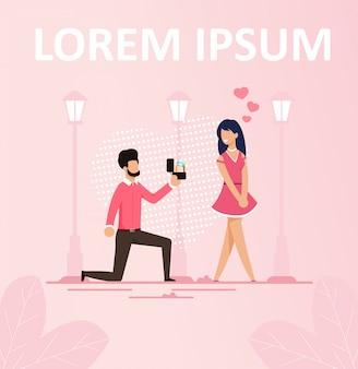 Man die huwelijk voorstel romantische poster