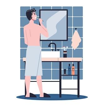 Man die in de badkamer en tanden poetsen. idee van gezondheid en hygiëne. illustratie