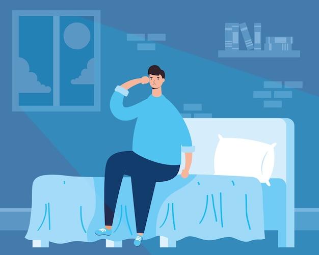 Man die lijdt aan slapeloosheid karakter illustratie