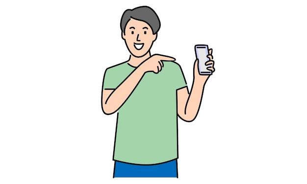 Man die smartphone toont en daarnaar wijst