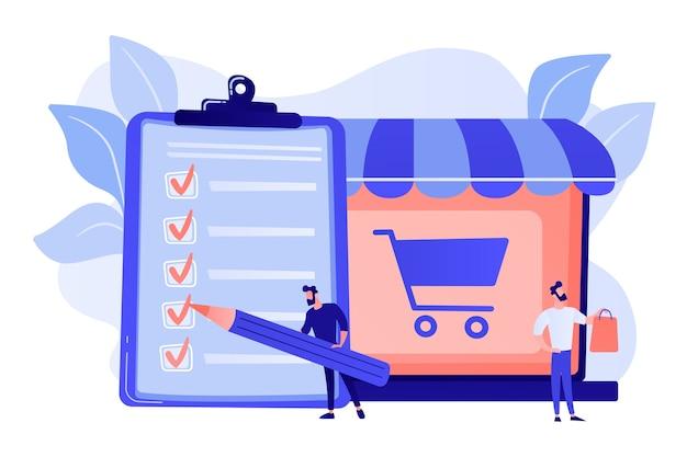 Man doet aankopen van boodschappenlijst. klant met pakket, goederen kopen