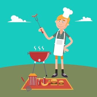 Man doet barbecue op picknick. zomergrillfeest. vector illustratie