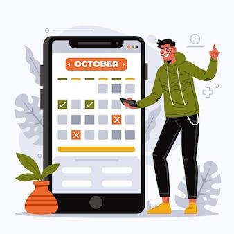 Man doet een afspraak boeken met smartphone